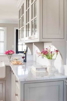 Marble Counters + Grey Cabinets