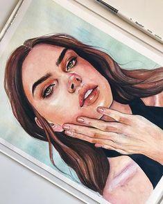 New Art Sketches Watercolor Artwork, Watercolor Portraits, Watercolour, Inspiration Art, Art Inspo, Drawing Sketches, Cool Drawings, Art Du Croquis, L'art Du Portrait