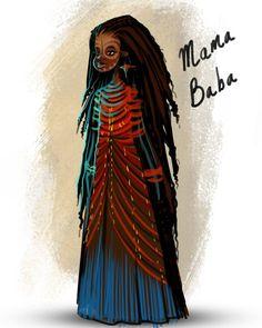 """Mama Baba"" illustrated by Guy Hermelin. . . #art #arte #artwork #artoftheday #instaart #instablack #blackgirl #blackgirls #blackgirlsrock #darkskin #afroart #fantasyart #africanart #blackart #mama #baba #blackwoman #dreadlocks #dreadlocs #fantasy #nubiamancy #conceptart #facepaint by nubiamancy"