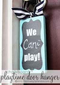 Chalkboard Playtime Door Hanger - Positively Splendid {Crafts, Sewing, Recipes and Home Decor} Vinyl Projects, Craft Projects, Craft Ideas, Baby Sleeping Sign, Chalkboard Vinyl, Chalkboard Ideas, Crafts For Kids, Diy Crafts, Wood Crafts