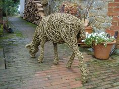 Willow Garden Or Yard / Outside and Outdoor sculpture by artist Emma Walker titled: 'life size willow sheep 4 (Woven Willow Sheep standing sculpture)' - Artwork View 3