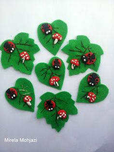 Mirela Mohjazi Handmade: Brose - martisor ! frunze din fetru, cusute cu ram... Christmas Crafts For Kids, Christmas Decorations, Christmas Ornaments, Holiday Decor, Felt Crafts, Diy And Crafts, Arts And Crafts, Spring Bulletin Boards, Spring Crafts