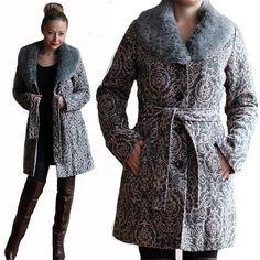 Vtg DAMASK Coat With VEGAN Fur Collar/Princess by VintageDeMar