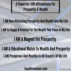 Law of Attraction Affirmations When we use powerful I AM statements, we are literally speaking our words into our realities. When saying these I AM affirmations, feel the feeling you would have if wealth and prosperity were flowing abundantly in your life. It's these times of emotion and words that really make an imprint on our subconscious minds, manifesting our desires rapidly!  Remember: Sharing IS Caring