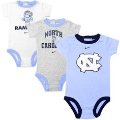 Nike North Carolina Tar Heels (UNC) Infant 3-Pack Creeper Set - White/Ash/Carolina Blue