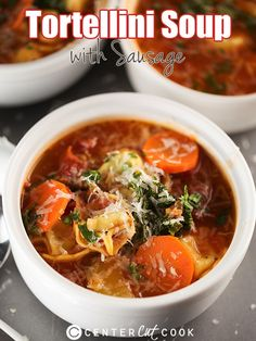 Tortellini Soup Recipe ~  with sausage, spinach, and kale. Easy to make and pretty healthy too!