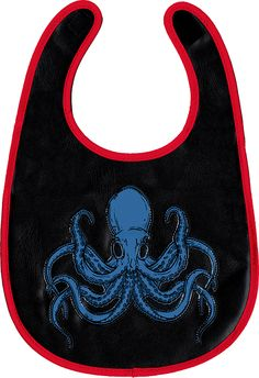 Awesome Vinyl Octopus Bib!   Great gift for the goth, heavy metal, or punk rock parent.   <3    SOURPUSS BRAND Black Bib with Blue Octopus and Red Border   (Sourpuss) Baby Bib - ON SALE:  $6.98 - 1-BIB-87002