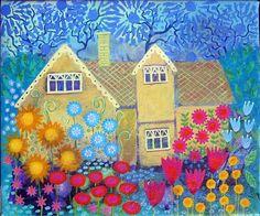 Woodland Cottage, 12 x 10 pretty colorful vibrant original canvas painting, wall art, folk art
