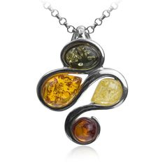 Classic Baltic Milky Amber, Silver and Turquoise Kingfisher Bird Pendant on a 16.5