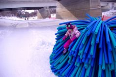 RAW Design has won the Warming Huts Competition with their fur-inspired Nuzzles. The colorful and fluffy design keeps the ice skaters warm along the frozen Red River Mutual Trail in Winnipeg, Canada.