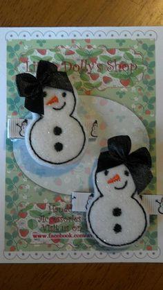 Bonhomme de neige SnowGirL brodé Feltie cheveux Clip