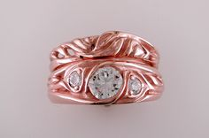 14k rose gold diamond Fireweed ring wedding set.