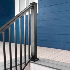 Kitted together for both an easier order and install, the AFCO Pro Adjustable Deck Stair Railing Kit combines fantastic looks with the beauty of worry-free purchasing. Stair Railing Kits, Metal Deck Railing, Outdoor Handrail, Deck Railing Systems, Metal Stairs, Deck Stairs, Balcony Railing, Decking Panels, Stair Brackets