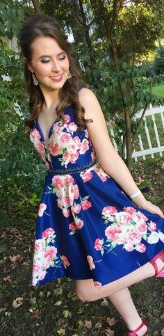 short royal blue floral homecoming dress, 2018 homecoming dress, prom dress
