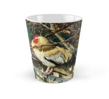 White And Fawn Fluffy #rooster Sleeping On A Fence #mug