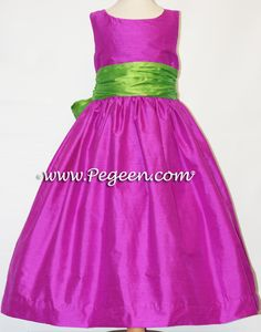 Fuschia and Key Lime silk flower girl dresses.  Available in 200+ colors of silk from infants through plus sizes