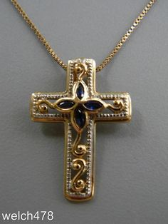 """Fine Sterling Silver Vermeil Cross w/Sapphire Accent Pendant & 18"""" Box Chain    eBay"""