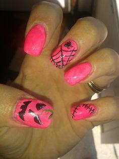 Halloween / breast cancer awareness nails :)