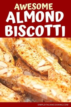 Delicious Almond BiscottiEnjoy this Awesome Almond Biscotti recipe! These classic Italian biscotti tastes amazing and are a real crowd pleaser. A perfect Italian dessert recipe for special occasions or the holidays! Almond Biscotti Recipe Italian, Best Biscotti Recipe, Italian Cookie Recipes, Italian Desserts, Best Dessert Recipes, Fun Desserts, Italian Cookies, Gourmet Desserts, Amazing Recipes
