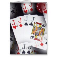 Poker, Quad Jacks, Birthday Greeting Card.