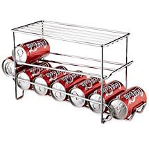 This can storage rack has a sturdy structure and comes with an elegant chrome finish. The refrigerator soda can dispenser is a great option for saving space in your refrigerator. Its unique gravity dispensing design makes it functional, while its sturdy construction makes it durable. This can storage rack has a shelf on top to give you more storage space. Neu Home drink can dispenser can hold up to 24 pop soda cans.