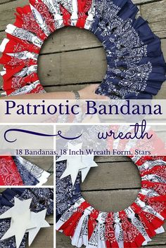 It took me about an hour to make this patriotic wreath by folding and tying bandanas around a wire wreath form. It is definitely an easy project for adults or kids. You could even alter it by using less bandanas and a smaller wire wreath form.
