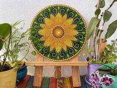 Mandala Canvas, Mandala Artwork, Mandala Painting, Sunflower Mandala, Mandala Dots, Mandala Design, Clock Painting, Dot Art Painting, Stone Painting