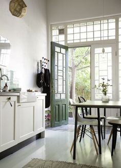 turns out we are so in with our new white kitchen green door combo.