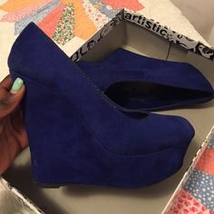 Blue Suede Wedges - Size 7 - In perfect condition - They literally look exactly as pictured above - Let's negotiate! *They are actual the color of the first three pics, the last pic just looks faded because of camera quality Shoes
