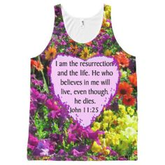 JOHN 11:25 PURPLE WILD FLOWERS All-Over-Print TANK TOP Up to 40% Off Shirts, Blankets, & More 15% Off Sitewide Use Code: ZSPRINGBREAK |for our beautiful selection of inspirational and spiritual Tees and Gifts.  http://www.zazzle.com/myheavenlyblessings/products #Spiritual #scripture #bibleverse #Christiangifts #Jesusgifts