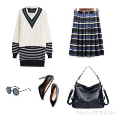 Ootd Set Including Maison Margiela Sweater Stripe Skirt Tote Bag And Round Frame Glasses From December 2016 #outfit #look