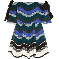 Fendi Wave bow off-the-shoulder dress (35.775 ARS) ❤ liked on Polyvore featuring dresses, fendi, blue cotton dress, bow dress, blue pattern dress and bow print dress