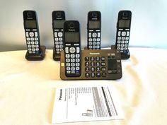 Panasonic KX-TGE245 Black Cordless Telephone Digital Answering System 5 Handsets #Panaphone