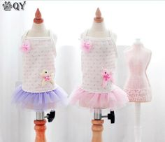 QY 2015 Clothing For Dogs Puppy Pet Dog Clothes Princess Female Summer Lace Bow Flower Cute