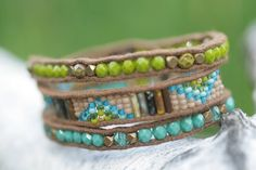 Wrap Bracelet in turquoise and olive green. by FlowSilverJewelry
