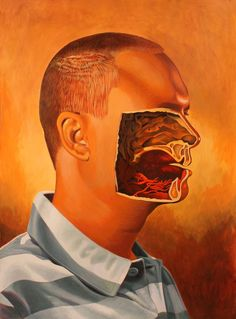 """Saatchi Online Artist: Billy Reynolds; Acrylic, 2012, Painting """"My Portrait With Center of Face Gouged Out"""" No Face, Anatomy Body Parts, Neo Dada, Arches Watercolor Paper, Medical Art, Selling Art Online, Face Art, Art Faces, Anatomy Art"""