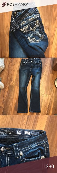 "Miss Me Jeans They say they are 35 inseam but they were professionally tailored to me and I wear 33 inch. (I'm 5' 8"" if that helps) Perfect condition. Only worn a couple times. Miss Me Jeans Boot Cut"