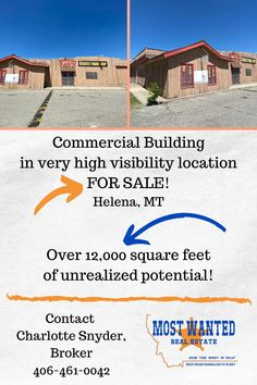 This building has over 6000 square feet on each floor and is located at one of the busiest intersections in Helena, MT! Contact Charlotte Snyder, Broker, 406-461-0042 for more information! Most Wanted Real Estate Commercial Buildings For Sale, Real Estate Broker, Square Feet, Property For Sale, Charlotte, Floor, Things To Sell, Pavement, Boden