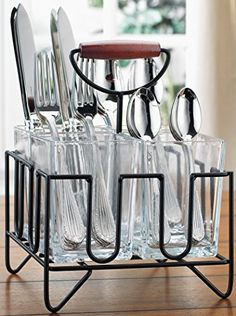 Looking for a kitchen countertop décor without losing its functionality? This 4 section caddy will keep your cooking utensils neatly organized and all in one place. This utensil holders set is also great for the party. The wire caddy allows you easily carry organized flatware/silverware to... more details available at https://www.kitchen-dining.com/blog/dining-entertaining/product-review-for-home-essentials-beyond-4-section-flatware-silverware-kitchen-utensil-dinnerware-tabl