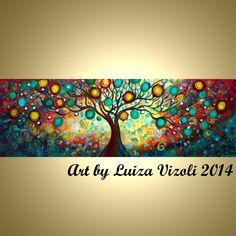 Original 72 Abstract HUGE Tree Landscape Whimsical by LUIZAVIZOLI