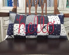 Nautical Hello Patchwork Pillow by ErinLynnDesigns on Etsy