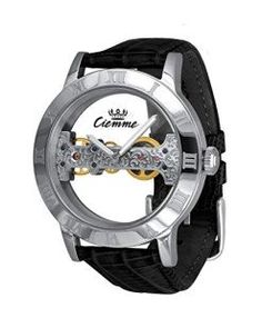 Ciemme-Mens-Luxury-Skeleton-Mechanical-Movement-Manual-Winding-Black-Leather-Wristwatch-0 #watches
