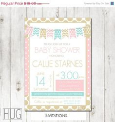 20 Off Sale Set of 12 Personalized Gender Neutral Gold, Pink and Aqua Baby Shower Invitations by HeadsUpGirls, $14.40