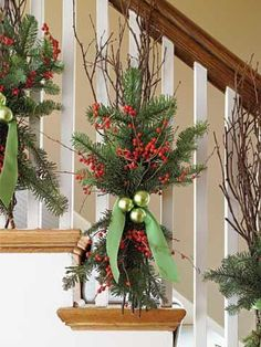 Deck the Banister- Nice alternative to swagging with garland. This would work well on the outside porch rails for a unique look.