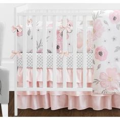 Shop for Sweet Jojo Designs Blush Pink, Grey and White Shabby Chic Watercolor Floral Collection Baby Girl Crib Bedding Set. Get free delivery On EVERYTHING* Overstock - Your Online Baby Bedding Shop! Pink And Gray Nursery, Grey Crib, Pink Grey, Blush Pink, Floral Nursery, Rose Nursery, Floral Bedding, Blanc Shabby Chic, Girl Crib Bedding Sets