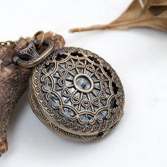 Large size Love net pocket watch necklace pendant by Leesglasses