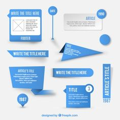 Blue labels and signs set Free Vector
