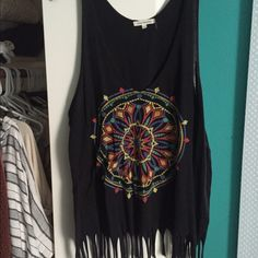 Urban Outfitters Black Fringe Dreamcatcher Tank Urban black fringe Dreamcatcher tank. Perfect condition rarely worn; no damage! No trades open to offers Urban Outfitters Tops Tank Tops