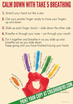 """Printable poster of a simple """"Take 5"""" breathing exercise to help kids calm down from big emotions."""