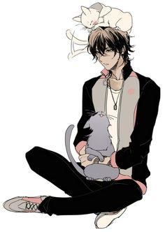 Ookurikara with neko mitsutada and neko tsurumaru Touken Ranbu, Manga Boy, Manga Anime, Anime Art, Cool Anime Guys, Cute Anime Boy, Anime Boys, Anime Cosplay, Men With Cats